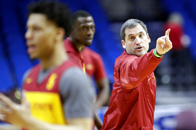 FILE - In this March 21, 2019, file photo ,Iowa State head coach Steve Prohm talks to his players during practice at the NCAA men's college basketball tournament in Tulsa, Okla. For most teams, losing nearly 70 percent of their scoring and over 60 percent of their rebounding would mean that a rebuilding season was imminent. At Iowa State, it's just the latest chance to give a new batch of players a crack at the Big 12 title.  (AP Photo/Charlie Riedel, File)