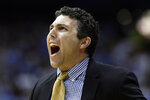 Georgia Tech coach Josh Pastner reacts during the first half of the team's NCAA college basketball game against North Carolina in Chapel Hill, N.C., Saturday, Jan. 4, 2020. (AP Photo/Gerry Broome)