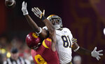 Notre Dame wide receiver Miles Boykin, right, can't reach a pass intended for him while under pressure from Southern California cornerback Iman Marshall during the first half of an NCAA college football game Saturday, Nov. 24, 2018, in Los Angeles. (AP Photo/Mark J. Terrill)