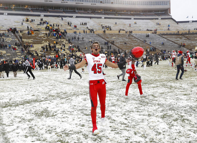 Utah wide receiver Samson Nacua celebrates as time runs out in an NCAA college football game against Colorado, Saturday, Nov. 17, 2018, in Boulder, Colo. Utah won 30-7. (AP Photo/David Zalubowski)