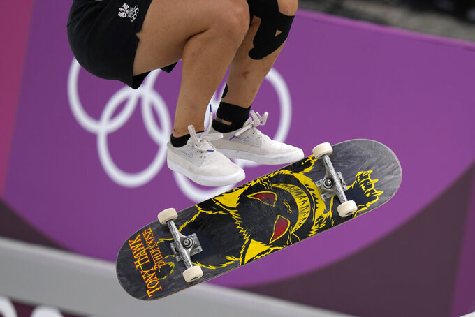 Julia Brueckler of Austria competes in the women's street skateboarding finals at the 2020 Summer Olympics, Monday, July 26, 2021, in Tokyo, Japan.(AP Photo/Ben Curtis)