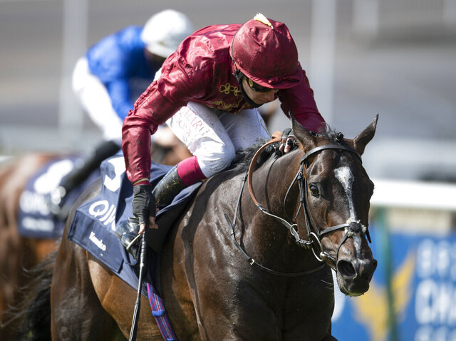 Kameko ridden by Oisin Murphy wins the Qipco 2000 Guineas at Newmarket Racecourse, in Newmarket, England, Saturday June 6, 2020. The 10-1 Kameko upset the odds to beat Pinatubo and win the 2,000 Guineas at Newmarket on Saturday and give jockey Oisin Murphy his first Classic. Pinatubo entered the race unbeaten in six juvenile starts and with the highest 2-year-old rating for 25 years. (Edward Whitaker/PA via AP)