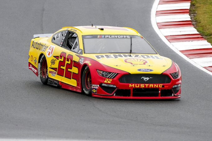 Joey Logano (22) competes in a NASCAR Cup Series auto race at Charlotte Motor Speedway in Concord, N.C., Sunday, Oct. 11, 2020. (AP Photo/Nell Redmond)