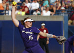 Washington starting pitcher Gabbie Plain (16) pitches in the third inning of the first game of the best-of-three championship series against Florida State in the NCAA Women's College World Series in Oklahoma City, Monday, June 4, 2018. Plain is a freshman from Australia who is a part of her country's national program. (AP Photo/Sue Ogrocki)