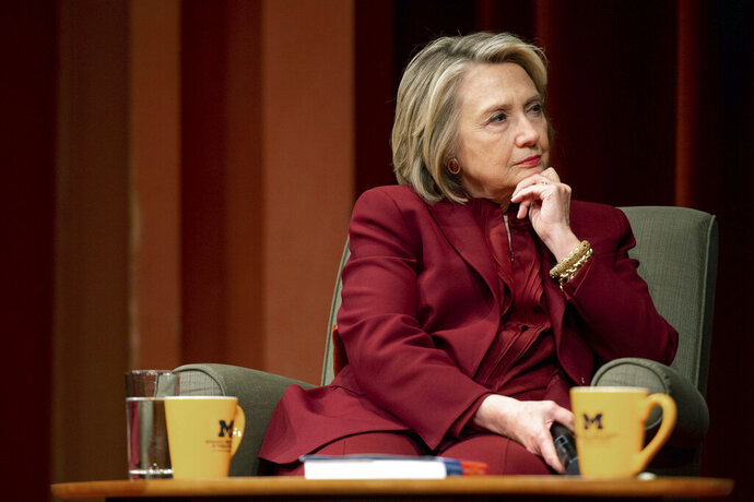 Hillary Clinton listens during a lecture on foreign policy at Rackham Auditorium, Thursday, Oct. 10, 2019 in Ann Arbor, Mich.(Jacob Hamilton/Ann Arbor News via AP)