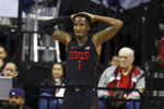UNLV's Kris Clyburn reacts to a play during the final moments of the team's NCAA college basketball game against San Diego State in the Mountain West Conference men's tournament Thursday, March 14, 2019, in Las Vegas. (AP Photo/Isaac Brekken)