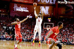 Nebraska's Isaac Copeland Jr. (14) shoots over Ohio State's Andre Wesson (24) during the first half of an NCAA college basketball game in Lincoln, Neb., Saturday, Jan. 26, 2019. (AP Photo/Nati Harnik)