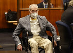 Robert Durst in his wheelchair spins in place as he looks at people in the courtroom as he appears in a courtroom in Inglewood, Calif. on Wednesday, Sept. 8, 2021, with his attorneys for closing arguments presented by the prosecution in the murder trial of the New York real estate scion who is charged with the longtime friend Susan Berman's killing in Benedict Canyon just before Christmas Eve 2000. (Al Seib/Los Angeles Times via AP, Pool)