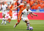 FILE - In this July 7, 2019, file photo, United States' Julie Ertz, right, controls the ball in front of Netherlands' Vivianne Miedema during the Women's World Cup final soccer match at the Stade de Lyon in Decines, outside Lyon, France. Ertz has been named the U.S. Soccer women's Player of the Year on Friday, Dec. 13, 2019, for the second time. Ertz also won the award in 2017 and she won the federation's Young Player of the Year honors in 2012. (AP Photo/Francisco Seco, File)