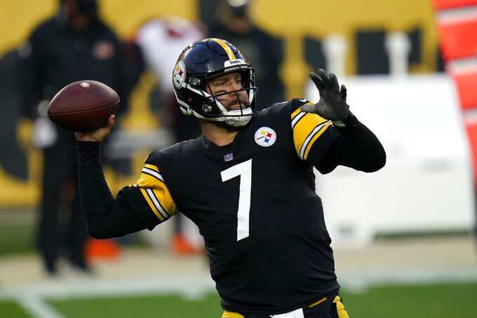 Pittsburgh Steelers quarterback Ben Roethlisberger (7) throws a pass during the first half of an NFL football game against the Cincinnati Bengals, Sunday, Nov. 15, 2020, in Pittsburgh. (AP Photo/Keith Srakocic)