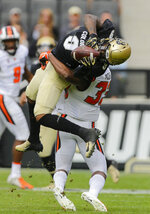 Colorado wide receiver Juwann Winfree (9) catches a pass over Oregon State safety Jalen Moore (33) during the first half of an NCAA football game, Saturday, Oct. 27, 2018, in Boulder, Colo. (AP Photo/Jack Dempsey)