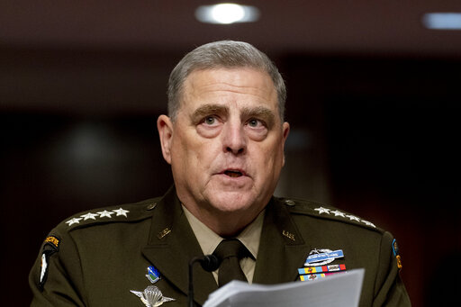 FILE - In this June 10, 2021, file photo Chairman of the Joint Chiefs of Staff Gen. Mark Milley speaks at a Senate Armed Services budget hearing on Capitol Hill in Washington. (AP Photo/Andrew Harnik, File)