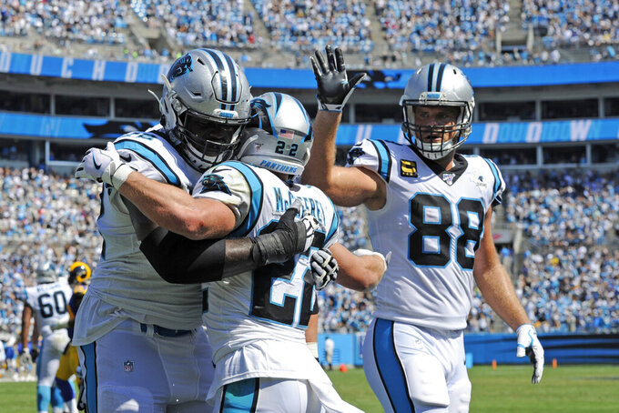 Carolina Panthers offensive tackle Taylor Moton, left, and tight end Greg Olsen (88) congratulate running back Christian McCaffrey (22) following McCaffrey's touchdown against the Los Angeles Rams during the second half of an NFL football game in Charlotte, N.C., Sunday, Sept. 8, 2019. (AP Photo/Mike McCarn)