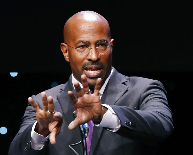 "REFORM Alliance CEO and political activist Van Jones speaks to participants at the launch of a partnership among entrepreneurs, entertainment moguls, recording artists, and business and sports leaders who hope to transform the American criminal justice system, Wednesday, Jan. 23, 2019, in New York. Jones is a former CNN host and was an adviser to president Barack Obama. Jones said, ""I'm thrilled to join forces with the team of incredible leaders at REFORM to free as many human bengs as possible who are unjustly trapped by mass supervision."" (AP Photo/Kathy Willens)"