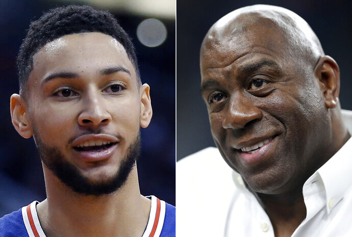 FILE - At left, in a Jan. 2, 2019, file photo, Philadelphia 76ers guard Ben Simmons is shown in the first half of an NBA basketball game against the Phoenix Suns, in Phoenix. At right, in a March 8, 2018, file photo, Magic Johnson attends an NCAA college basketball game in the quarterfinals of the Pac-12 men's tournament, in Las Vegas. The NBA is going to investigate whether league rules were broken when Philadelphia's Ben Simmons inquired about meeting with Los Angeles Lakers president Magic Johnson for playing tips. League spokesman Mike Bass said Monday, Feb. 11, 2019, that the NBA will look at the matter. (AP Photo/File)