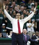 Nebraska head coach Tim Miles on the sidelines during the first half of an NCAA college basketball game against Michigan State, Tuesday, March 5, 2019, in East Lansing, Mich. (AP Photo/Carlos Osorio)