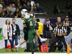 Appalachian State wide receiver Thomas Hennigan (5) catches a touchdown pass as UAB cornerback Starling Thomas V (4) defends during the first half of the New Orleans Bowl NCAA college football game in New Orleans, Saturday, Dec. 21, 2019. (AP Photo/Brett Duke)