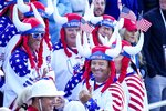 Fans wait on the first tee for the first group to tee off before a foursomes match the Ryder Cup at the Whistling Straits Golf Course Saturday, Sept. 25, 2021, in Sheboygan, Wis. (AP Photo/Ashley Landis)