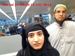 FILE - This July 27, 2014 file photo provided by U.S. Customs and Border Protection shows Tashfeen Malik, left, and her husband, Syed Farook, at O'Hare International Airport in Chicago. The man accused of buying the rifles the couple used to kill 14 people in the San Bernardino terrorist attack in 2015 will ask to withdraw his guilty plea. Enrique Marquez's lawyer submitted papers Wednesday, May 22, 2019 saying his client will file a motion under seal to withdraw a 2017 guilty plea to providing material support to terrorists. (U.S. Customs and Border Protection via AP, File)