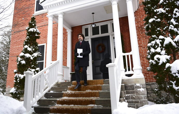 Prime Minister Justin Trudeau holds a press conference at Rideau Cottage in Ottawa on Friday, Jan. 22, 2021.  (Sean Kilpatrick/The Canadian Press via AP)