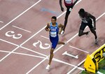 Donavan Brazier, of the United States, wins his heat during the men's 800 meter semi finals at the World Athletics Championships in Doha, Qatar, Sunday, Sept. 29, 2019. (AP Photo/Morry Gash)