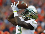 South Florida's Darnell Salomon makes a catch for touchdown against Illinois during the second half of an NCAA college football game Saturday, Sept. 15, 2018, in Chicago. (AP Photo/Jim Young)