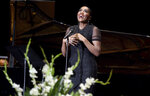 Singer Audra McDonald performs during funeral services for opera star Jessye Norman in Augusta, Ga., Saturday, Oct. 12, 2019. Norman died Sept. 30 at age 74. A trailblazing performer, she was one of the rare black singers to attain worldwide stardom in the opera world. (Michael Holahan/The Augusta Chronicle via AP)