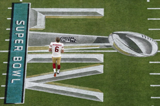 San Francisco 49ers' Mitch Wishnowsky (6) walks the field before the NFL Super Bowl 54 football game between the San Francisco 49ers and Kansas City Chiefs Sunday, Feb. 2, 2020, in Miami Gardens, Fla. (AP Photo/Morry Gash)