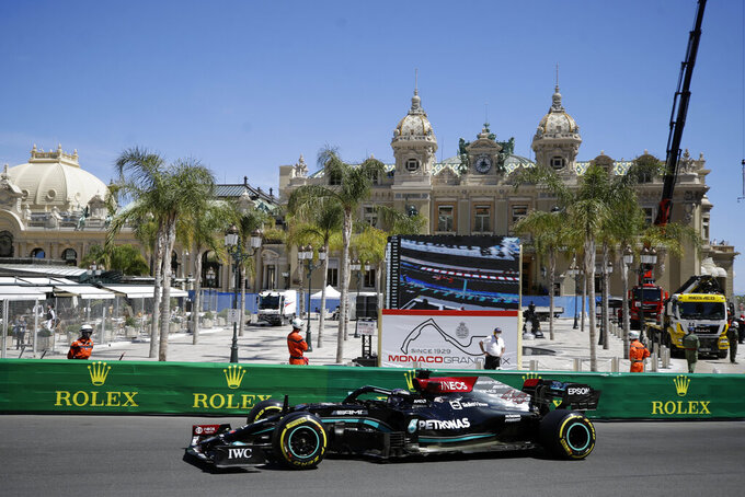 Mercedes driver Lewis Hamilton of Britain steers his car during the second free practice for Sunday's Formula One race, at the Monaco racetrack, in Monaco, Thursday, May 20, 2021. (AP Photo/Luca Bruno)