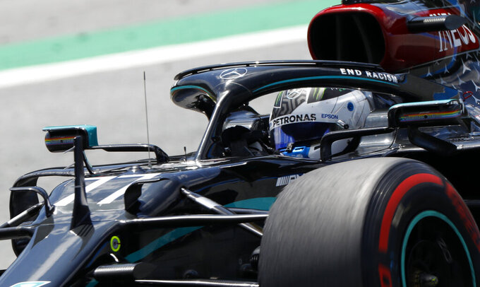 Mercedes driver Valtteri Bottas of Finland steers his car during the third practice session at the Red Bull Ring racetrack in Spielberg, Austria, Saturday, July 4, 2020. The Austrian Formula One Grand Prix will be held on Sunday. (Leonhard Foeger/Pool via AP)