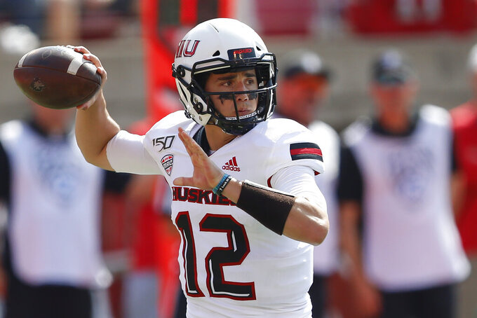 Northern Illinois quarterback Ross Bowers (12)passes the ball against Utah in the first half of an NCAA college football game Saturday, Sept. 9, 2019, Salt Lake City. (AP Photo/Rick Bowmer)