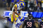 Los Angeles Rams wide receiver Robert Woods, above, celebrates with teammate center Brian Allen after scoring a touchdown during the second half of an NFL football game against the Chicago Bears, Sunday, Sept. 12, 2021, in Inglewood, Calif. (AP Photo/Jae C. Hong)
