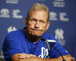 FILE - In this July 9, 2013, file photo, Kansas City Royals interim hitting coach and Hall of Famer George Brett discusses the pine tar game in which Brett was called out for using a bat on which pine tar exceeded the 18-inch limit, during a news conference at Yankee Stadium in New York. Nearly three decades after it became known simply as
