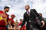 Iowa State tight end Chase Allen high fives fans as the team arrives to play South Dakota State in an NCAA college football game, Saturday, Sept. 1, 2018, in Ames, Iowa. (AP Photo/Matthew Putney)
