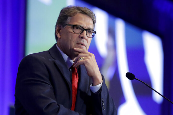 FILE - In this Sept. 6, 2019, file photo, Energy Secretary Rick Perry speaks at the California GOP fall convention in Indian Wells, Calif. Perry pushed Ukraine's president earlier in 2019 to replace members of a key supervisory board at Naftogaz, a massive state-owned petroleum company. (AP Photo/Chris Carlson, File)