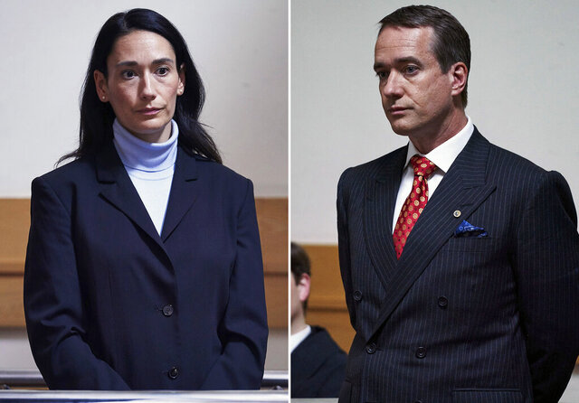 This combination of photos released by AMC shows Sian Clifford, left, and Matthew Macfadyen in scenes from