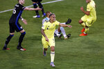 Nashville SC midfielder Randall Leal (8) celebrates his goal against the Montreal Impact during the first half of an MLS soccer match Tuesday, Oct. 27, 2020, in Harrison, N.J. (AP Photo/Adam Hunger)