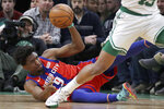 Detroit Pistons guard Langston Galloway (9) looks to pass the ball to a teammate in the first quarter of an NBA basketball game against the Boston Celtics, Friday, Dec. 20, 2019, in Boston. (AP Photo/Elise Amendola)