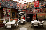 Images of Mexican revolutionary leader Emiliano Zapata decorate a restaurant in Mexico City, Wednesday, April 10, 2019. Mexico marked the 100th anniversary on Wednesday of the assassination of Zapata, one of the main heroes of the 1910-1917 revolution who was gunned down by government soldiers over his unyielding defense of peasants. (AP Photo/Eduardo Verdugo)