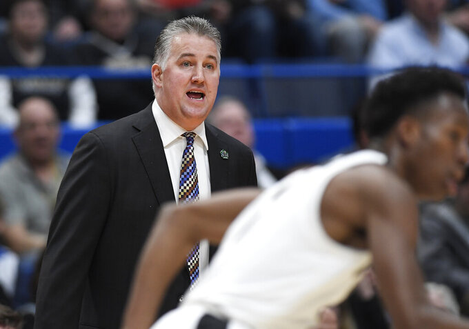 Purdue coach Matt Painter calls out to his players during the first half against Old Dominion in a first-round game in the NCAA men's college basketball tournament Thursday, March 21, 2019, in Hartford, Conn. (AP Photo/Jessica Hill)