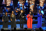 Reba McEntire, middle, performs with The McCrary Sisters during the 2019 Medallion Ceremony at the Country Music Hall of Fame and Museum on Sunday, Oct. 20, 2019 in Nashville, Tenn. (Photo by Sanford Myers/Invision/AP)