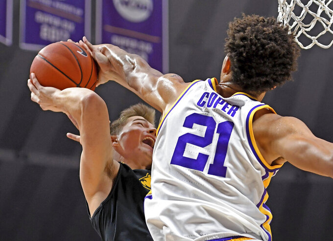 LSU forward Courtese Cooper (21) attempts to block the shot of Maryland-Baltimore County forward Nathan Johnson, left, but fouls in the process during the second half of an NCAA college basketball game Tuesday, Nov. 19, 2019, in Baton Rouge, La. LSU won 77-50. (AP Photo/Bill Feig)