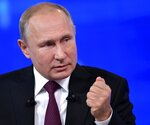 Russian President Vladimir Putin gestures while speaking during his annual call-in show in Moscow, Russia, Thursday, June 20, 2019. Putin hosts call-in shows every year, which typically provide a platform for ordinary Russians to appeal to the president on issues ranging from foreign policy to housing and utilities. (Alexei Nikolsky, Sputnik, Kremlin Pool Photo via AP)