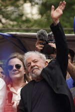 Former Brazilian President Luiz Inacio Lula da Silva waves to supporters during a rally at the Metal Workers Union headquarters, in Sao Bernardo do Campo, Brazil, Saturday, Nov. 9, 2019. Da Silva addressed thousands of jubilant supporters a day after being released from prison.
