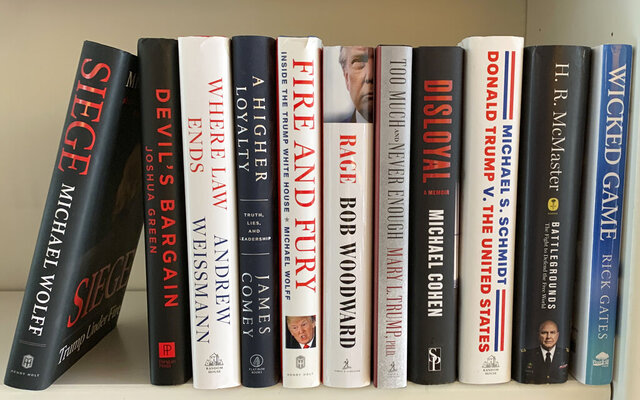 A collection of books about President Donald Trump, from left,
