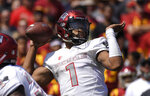 UNLV quarterback Armani Rogers passes during the first half of an NCAA college football game against the Southern California, Saturday, Sept. 1, 2018, in Los Angeles. (AP Photo/Mark J. Terrill)