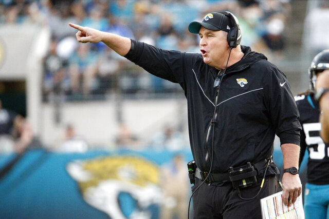 Jacksonville Jaguars head coach Doug Marrone directs his players against the Indianapolis Colts during the first half of an NFL football game, Sunday, Dec. 29, 2019, in Jacksonville, Fla. (AP Photo/Stephen B. Morton)