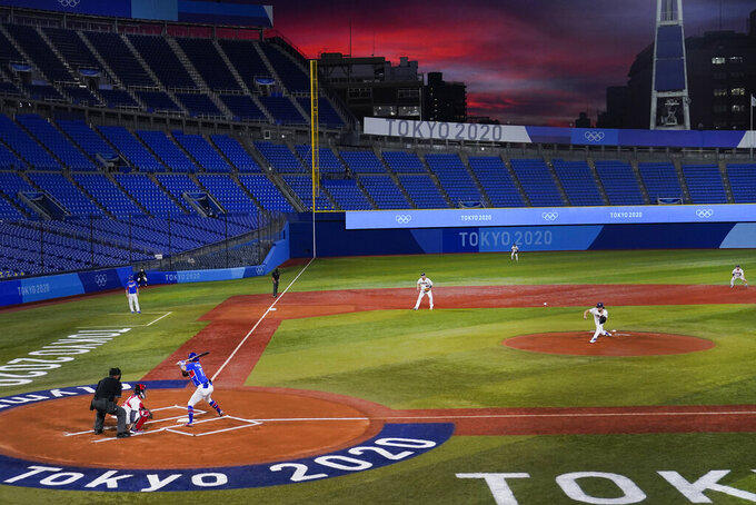 United States' Joe Ryan pitches to South Korea's Hae Min Park during the first inning of a semi-final baseball game at the 2020 Summer Olympics, Thursday, Aug. 5, 2021, in Yokohama, Japan. (AP Photo/Sue Ogrocki)