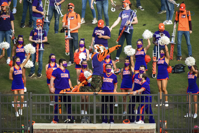 The Clemson Tigers mascot performs during the first half of an NCAA college football game Saturday, Nov. 28, 2020, in Clemson, S.C. (Ken Ruinard/The Independent-Mail via AP, Pool)