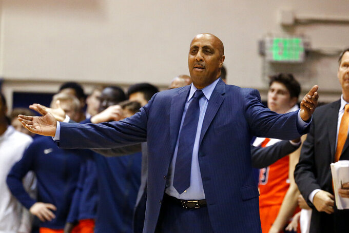 Pepperdine coach Lorenzo Romar reacts to a call during the second half of the team's NCAA college basketball game against Gonzaga on Saturday, Feb. 15, 2020, in Malibu, Calif. Pepperdine won 89-77. (AP Photo/Ringo H.W. Chiu)